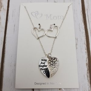 Mom And Daughter Forever Etched Love Necklace Set
